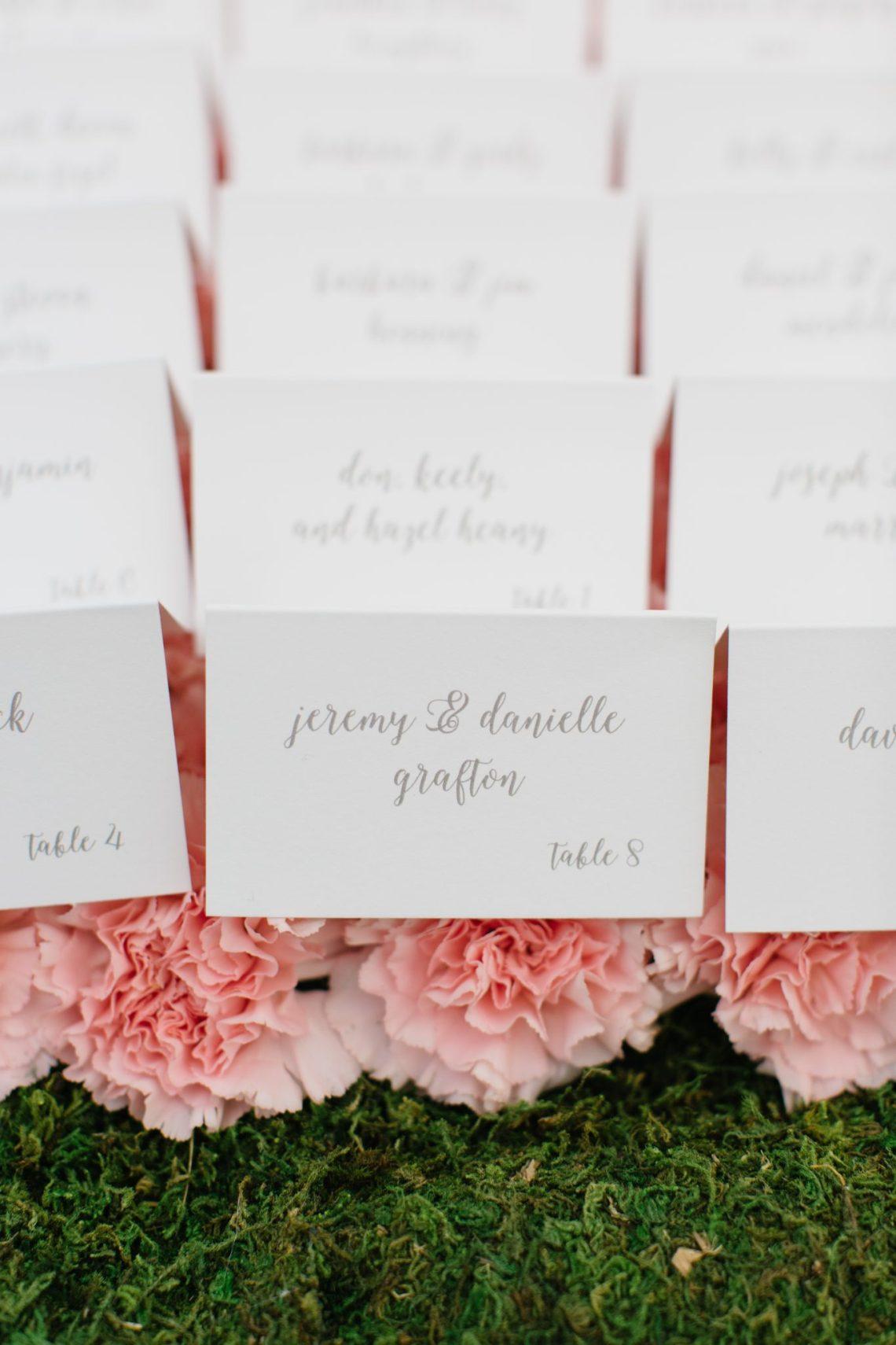 Classic Wedding Escort Card Display with Flowers   www.thestyledbride.com