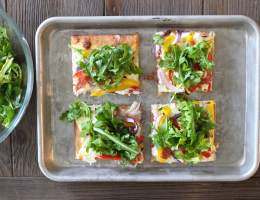 Friday Pizza Night Upgrade – Sheet Pan White Pizza with Peppers + Salami