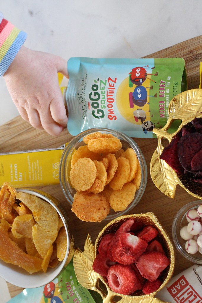 healthy portable snacks for kids  from a registered dietitian nutritionist like GoGO Squeez, Welch's Fruit 'n Yogurt Snacks and Good & Gather Date Bars