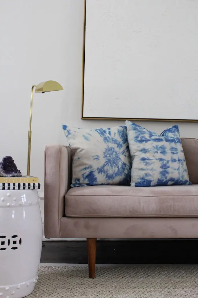 indigo tie-dye pillows on pink couch