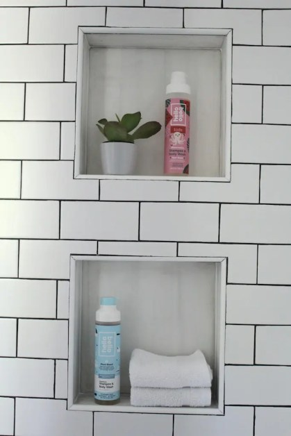 white subway tile shower cubby