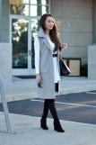 Blogger in Grey Tailored Sleeveless Jacket