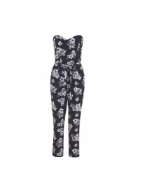 Miss Selfridge Mono Floral Print Jumpsuit