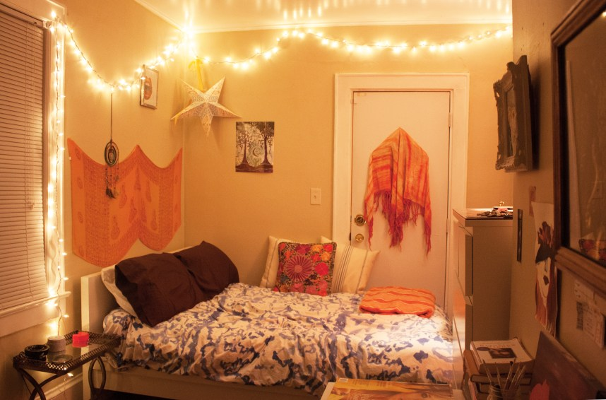 I live in a makeshift bedroom transformed from a sunroom. The space is small but I'm happy here.