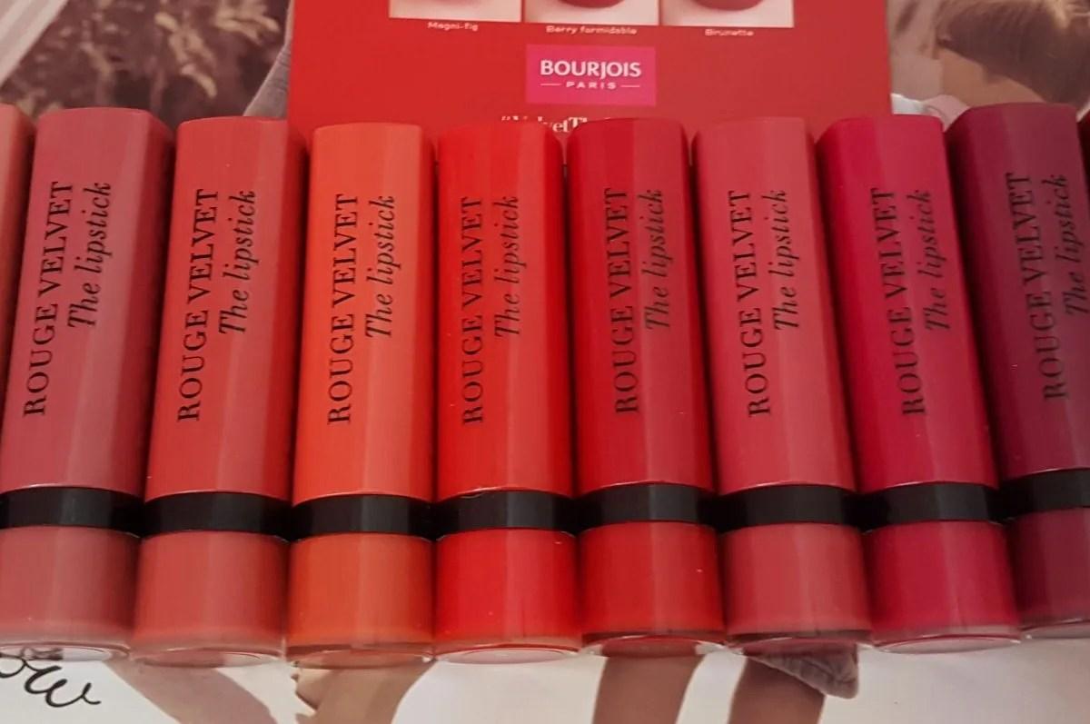 range of lipstick colours