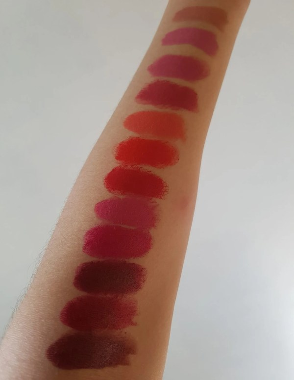 lipstick swatches on arms