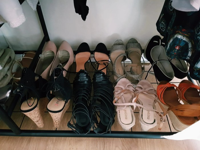 Shoes inside a closet