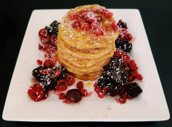 vegan pancakes with berries