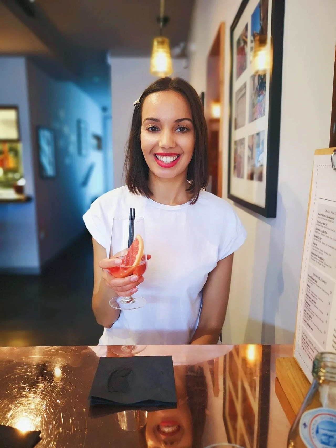 sexually attracted to accents - girl mocktail in bar - The Style of Laura Jane