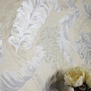 Gilded Feather White/Silver Image: Graham & Brown