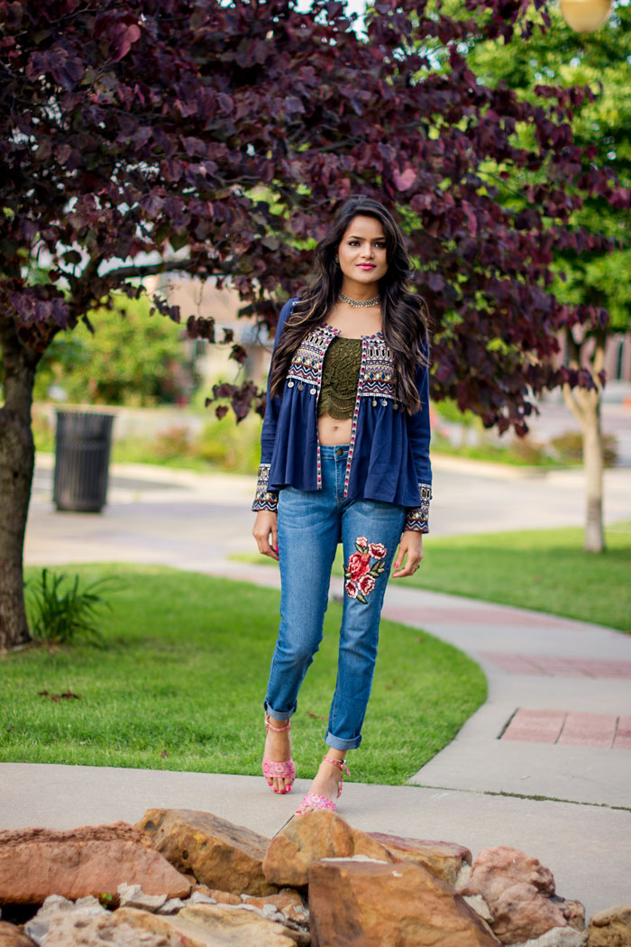 Embroidered top and jeans