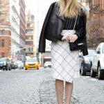 white check pencil skirt, black pinstripe sweater, leather jacket