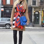 Red tribal scarf, black leather leggings, camel coat, alexander wang boots
