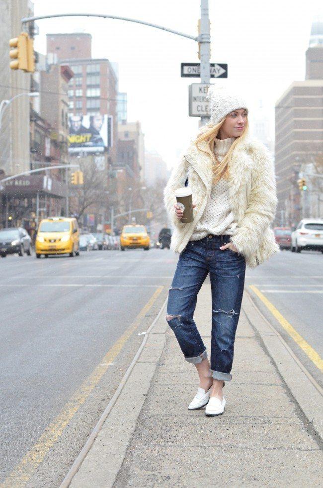 Fuzzy Cream Jacket and Boyfriend Jeans // theStyleSafari