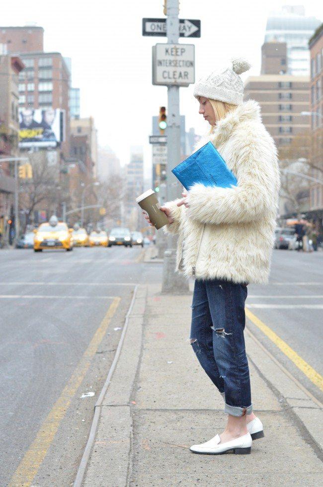 Metallic Clutch, fuzzy jacket, boyfriend jeans // theStyleSafari