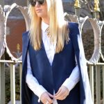 Navy cape jacket, gap resolution white jeans and white button down blouse