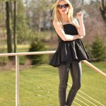Black Peplum top, black helmut lang leather leggings // thestylesafari.com