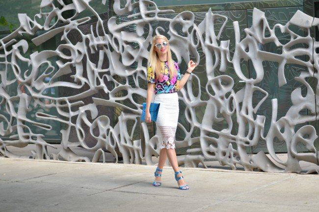 Gap REMIX tee, white lace skirt, blue metallic heels // thestylesafari.com