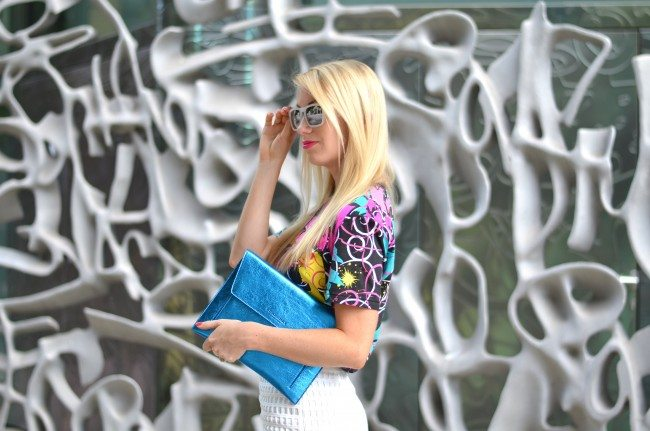 Gap REMIX tee, white lace skirt, blue metallic clutch // thestylesafari.com