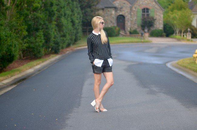 pinstripe sweater, leather shorts, white wedge heels // thestylesafari.com