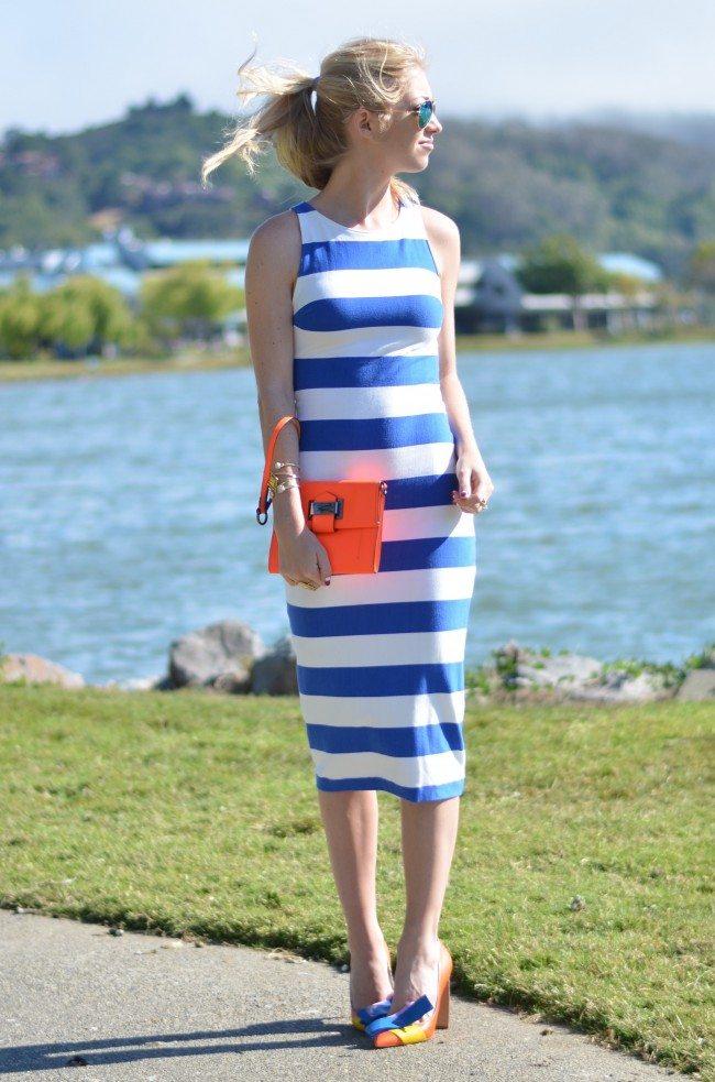 Blue white striped Midi Dress, orange nicholas kirkwood heels // thestylesafari.com