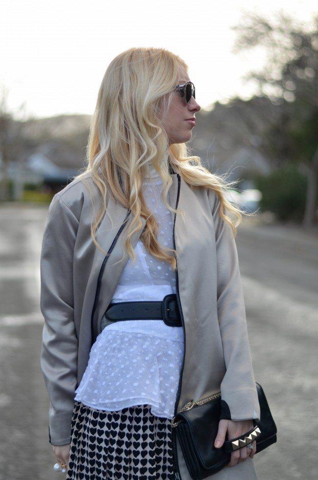 heart print pleated skirt, isabel marant dot print top, white turtleneck // thestylesafari.com