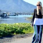 Banana Republic striped wide leg pants, Pixie market bell sleeve top // thestylesafari.com