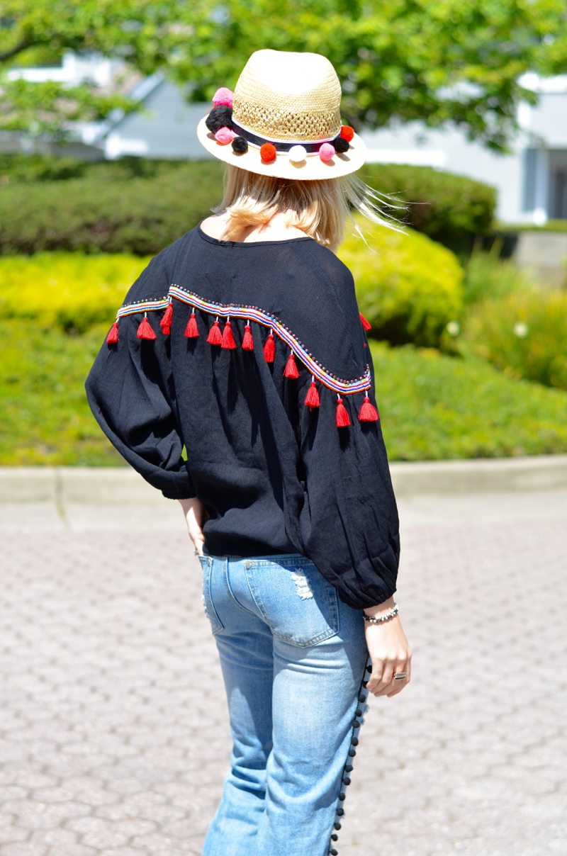pom pom jeans, embroidered tassel top, DIY pom pom straw hat // thestylesafari.com