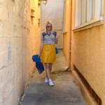 Coach 1941 applique t-shirt, yellow a line skirt, jean jacket // thestylesafari.com