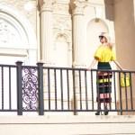 yellow off shoulder blouse, stripe apiece apart pencil skirt, street style // thestylesafari.com