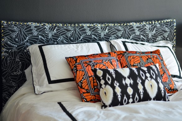 diy fabric covered headboard // thestylesafari.com