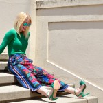 zara floral pants, green sweater, green fringe heels // thestylesafari.com