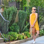 Stefanie from the Style Safari wears H&M mustard yellow high neck dress