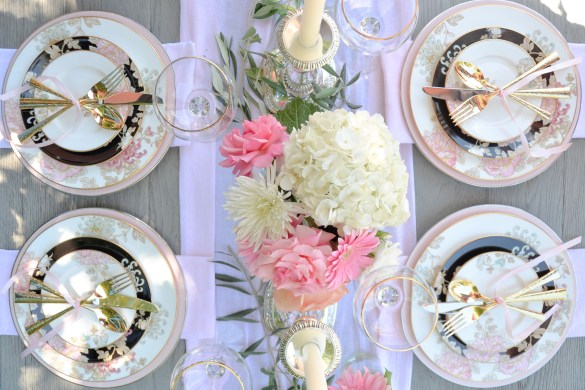 Lenox Marchesa Painted Camelia Imperial Caviar Table setting with Table + Dine by Stefanie of The Style Safari