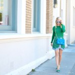street style by Stefanie of the Style Safari featuring all green outfit with zara sweater and green sari print skirt, blue suede banana republic shoulder bag