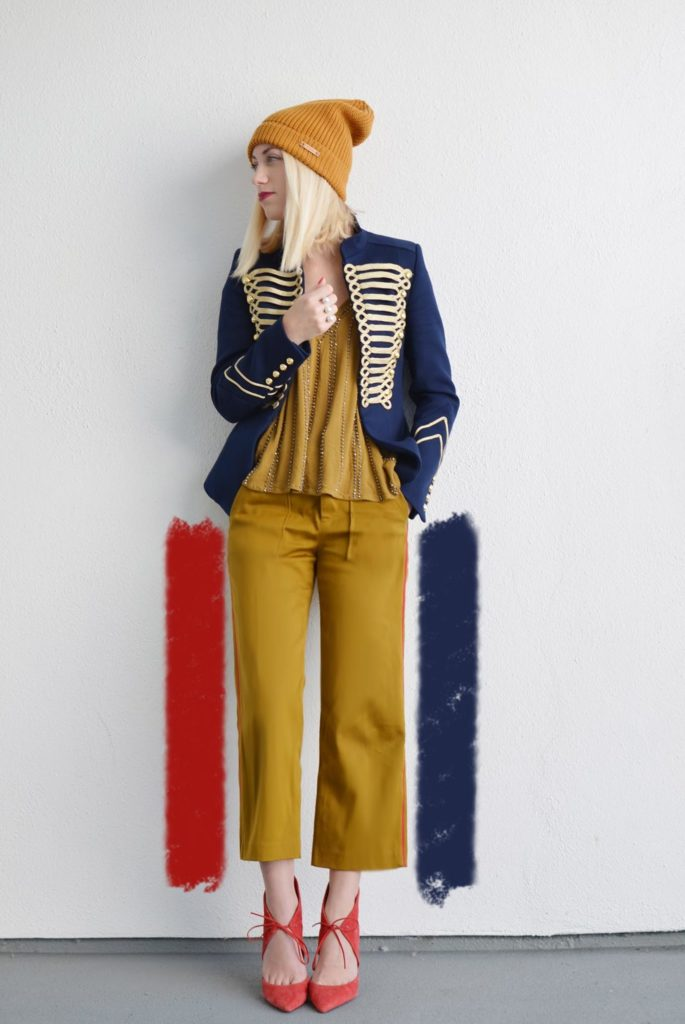 military jacket and mustard pants