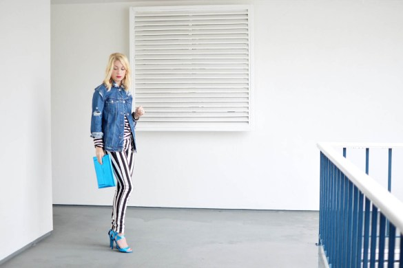 denim on stripes on stripes outfit, how to style stripes