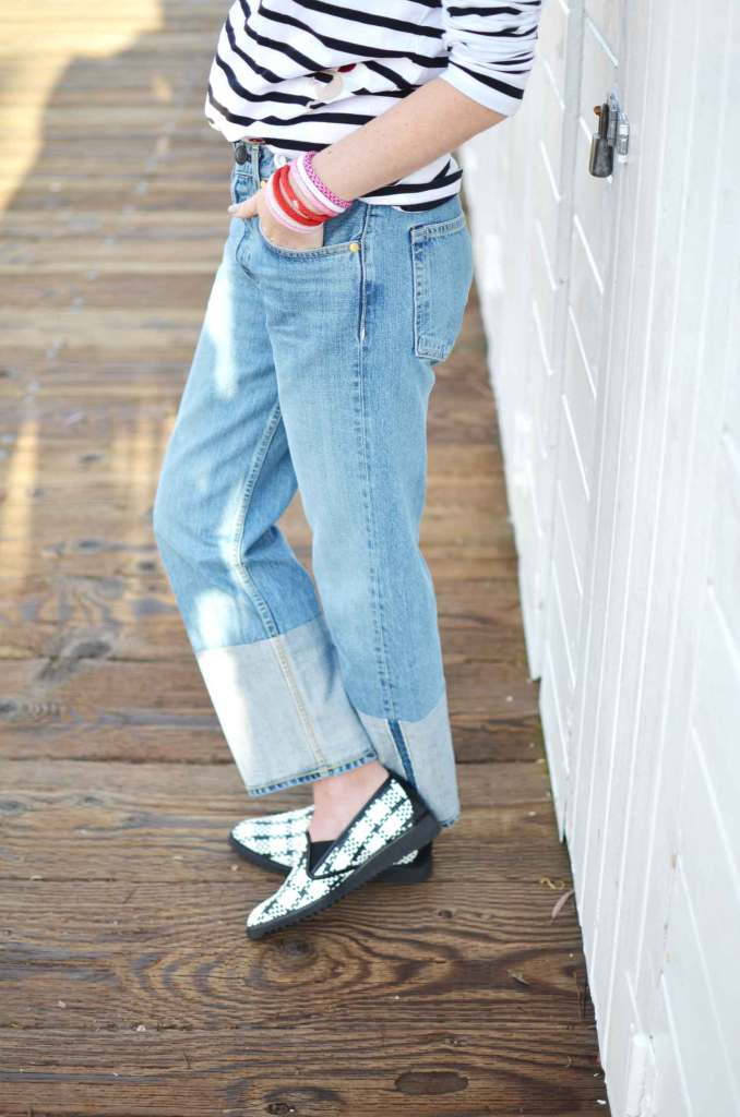 Casual French Style, casual classic style, stripe long sleeve tee, color block boyfriend jeans