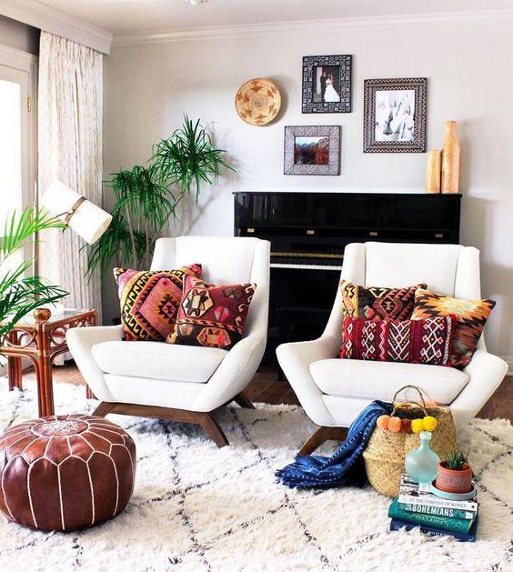 Interior Design Plan: Modern Bohemian Living Room ... on Bohemian Living Room Decor Ideas  id=79643
