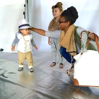 Dressing our mini models on set. They were so cute!