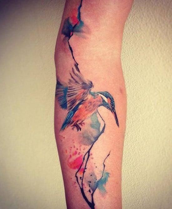11-Watercolor-bird-arm-tattoo