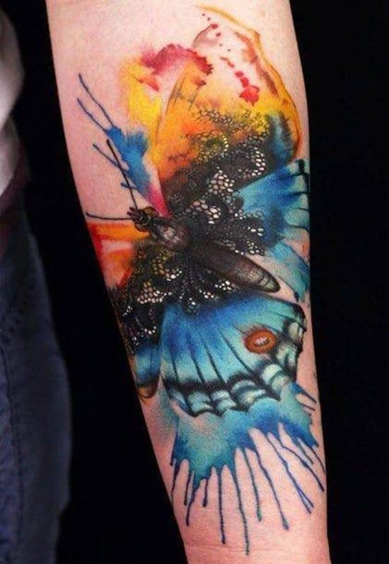 44-Watercolor-Butterfly-Forearm-Tattoo