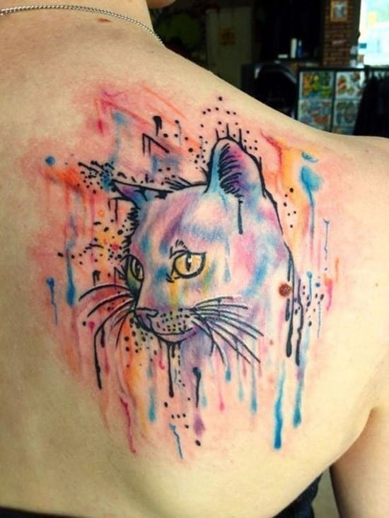 45-chic-cat-watercolor-tattoo-on-upper-back-for-girls