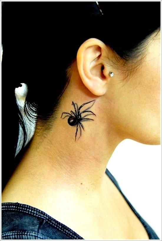 spider tattoo under ear
