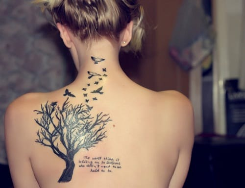 Back Bird Tattoo with Tree and Quotes