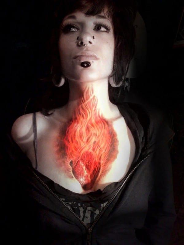 3D Flaming Heart Tattoo