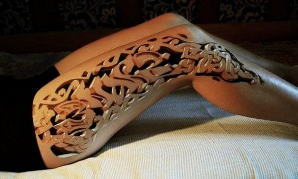 3D Tattoos On Leg