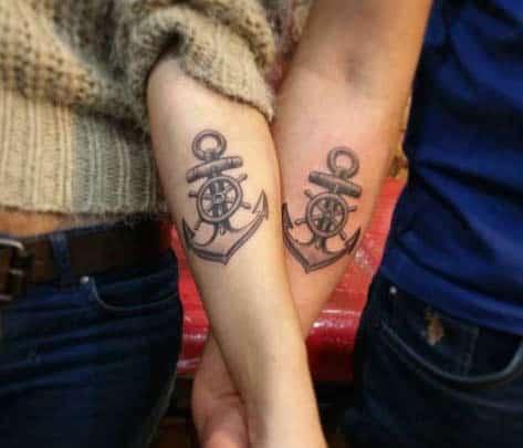 Matching Couple Anchor Tattoos by Sinan Avan