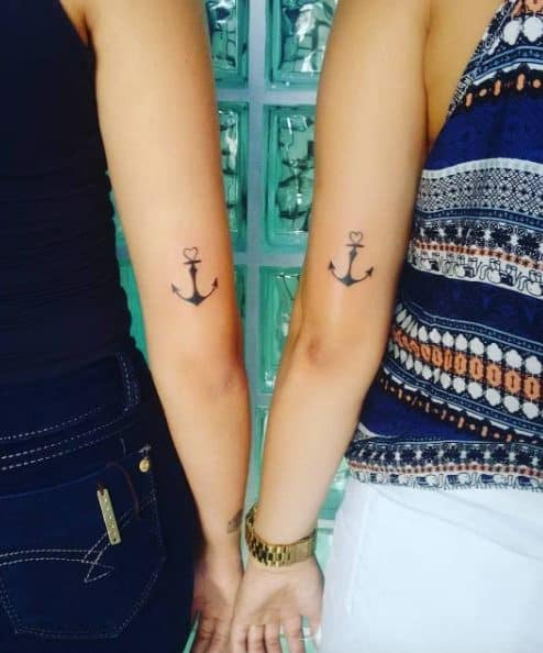 Matching Anchor Tattoos by Alan