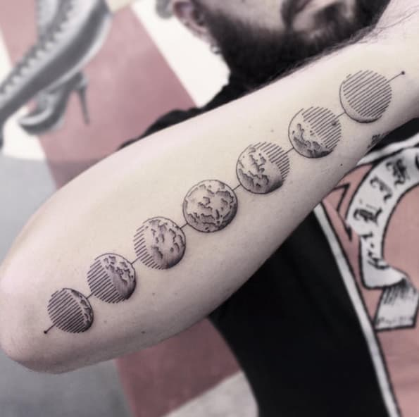 Creative Phases of the Moon Tattoo by Karry Ka-Ying Poon